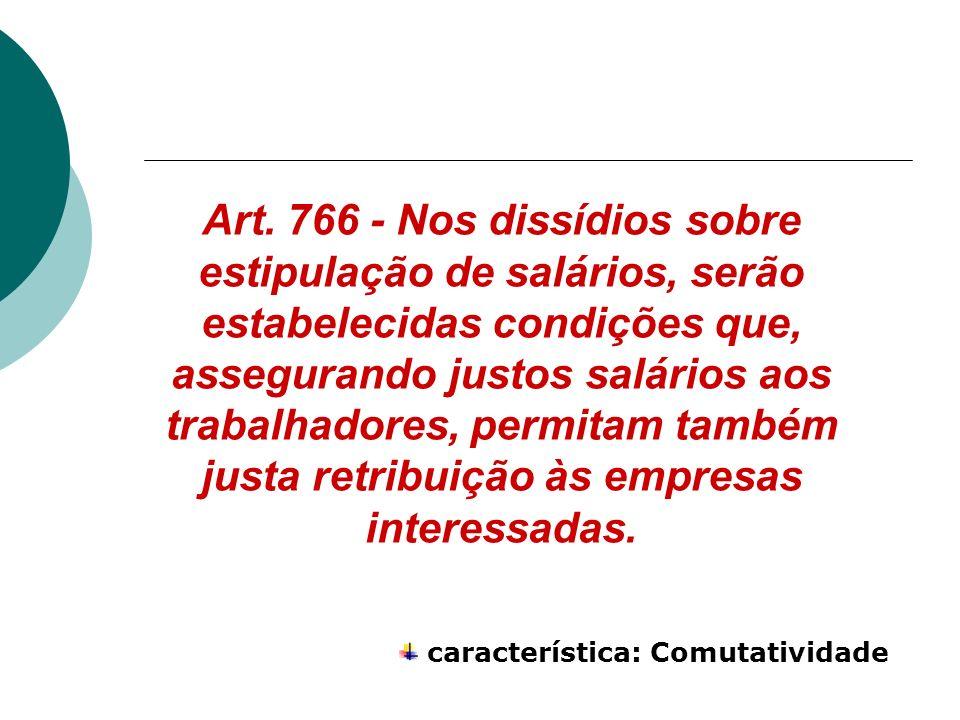 Art. 766 - Nos dissídios sobre estipulação de salários, serão estabelecidas condições que, assegurando justos salários aos trabalhadores, permitam tam