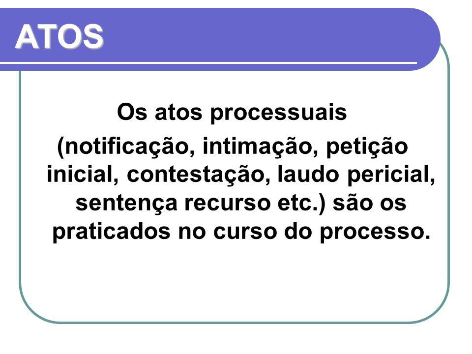 ATOS Os atos processuais (notificação, intimação, petição inicial, contestação, laudo pericial, sentença recurso etc.) são os praticados no curso do p