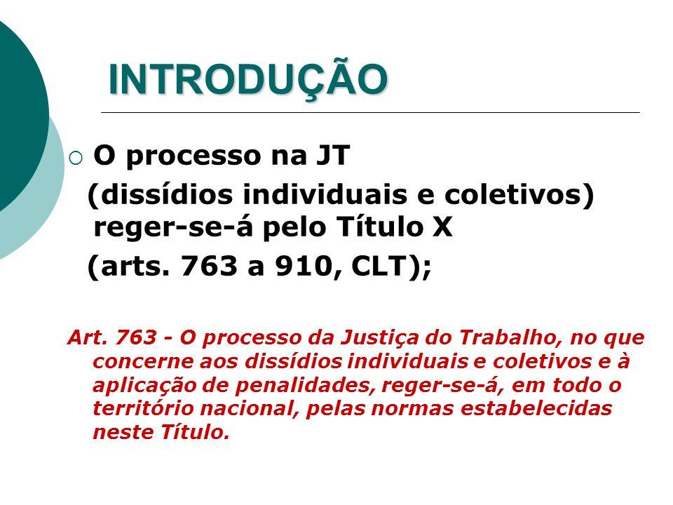 INTRODUÇÃO O processo na JT (dissídios individuais e coletivos) reger-se-á pelo Título X (arts. 763 a 910, CLT); Art. 763 - O processo da Justiça do T