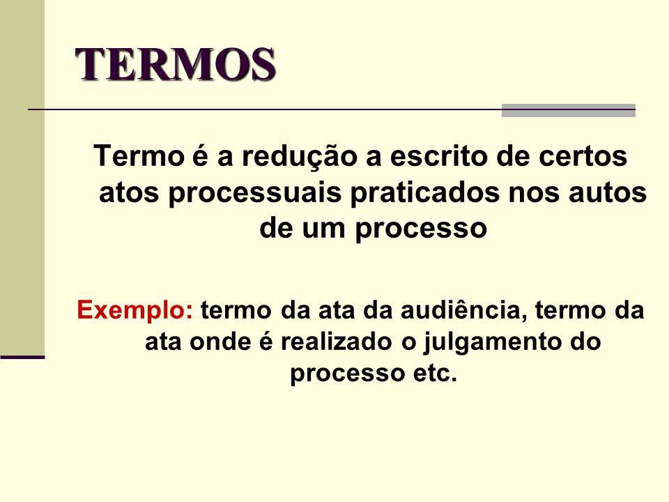 TERMOS Termo é a redução a escrito de certos atos processuais praticados nos autos de um processo Exemplo: termo da ata da audiência, termo da ata ond
