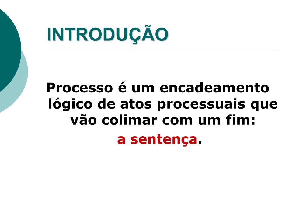 INTRODUÇÃO Processo é um encadeamento lógico de atos processuais que vão colimar com um fim: a sentença.