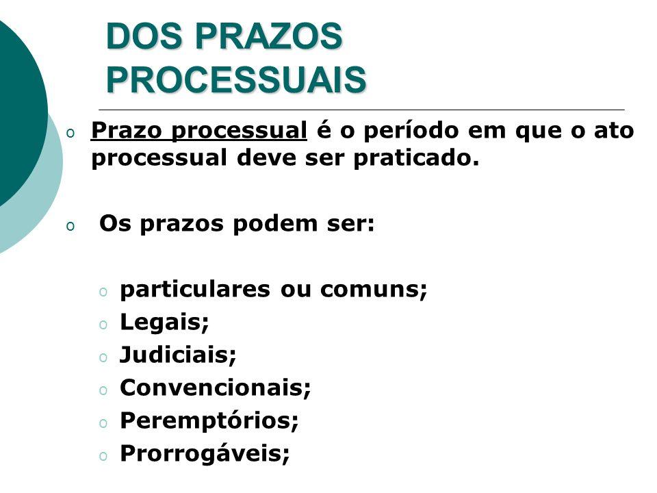 DOS PRAZOS PROCESSUAIS o Prazo processual é o período em que o ato processual deve ser praticado. o Os prazos podem ser: o particulares ou comuns; o L