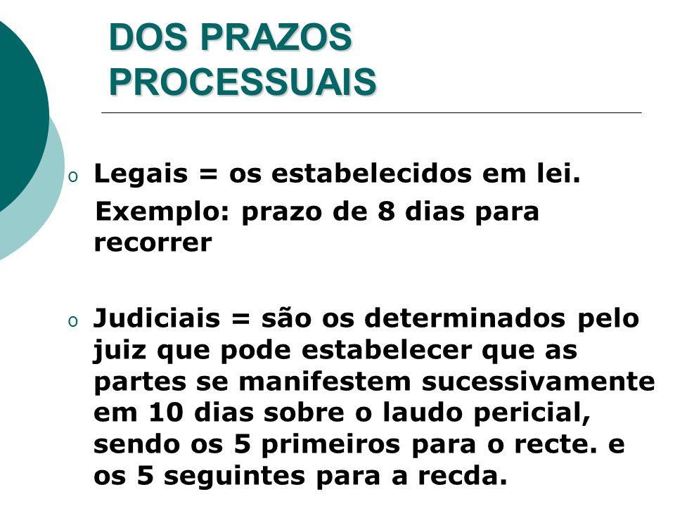 DOS PRAZOS PROCESSUAIS o Legais = os estabelecidos em lei. Exemplo: prazo de 8 dias para recorrer o Judiciais = são os determinados pelo juiz que pode