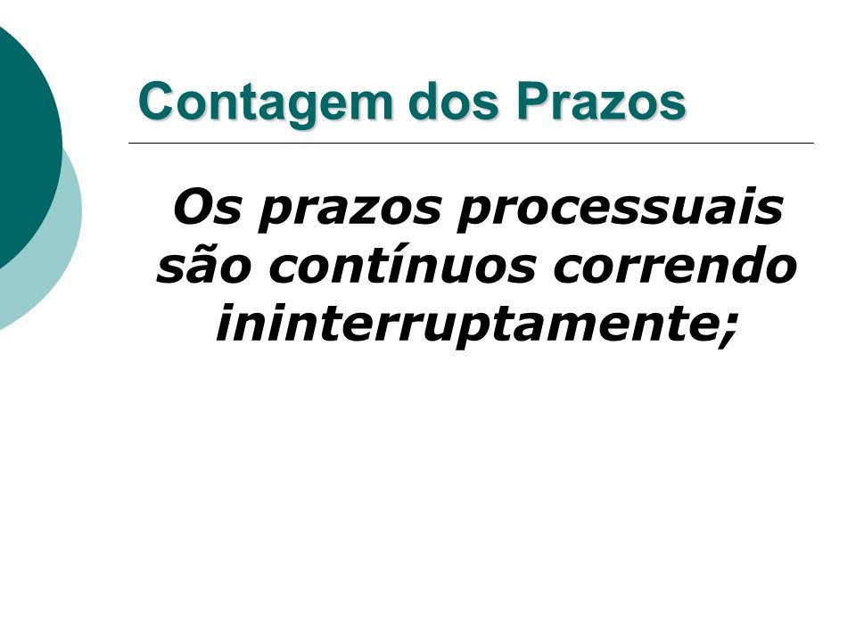Contagem dos Prazos Os prazos processuais são contínuos correndo ininterruptamente;