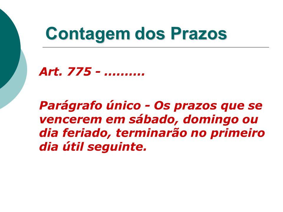Contagem dos Prazos Art. 775 -.......... Parágrafo único - Os prazos que se vencerem em sábado, domingo ou dia feriado, terminarão no primeiro dia úti