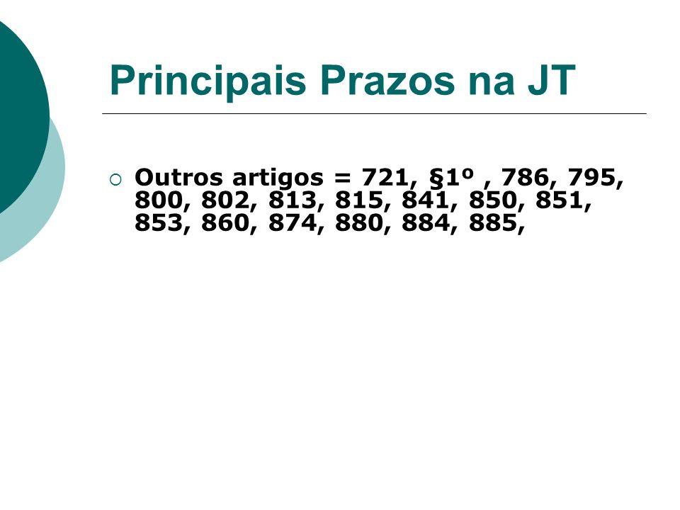 Principais Prazos na JT Outros artigos = 721, §1º, 786, 795, 800, 802, 813, 815, 841, 850, 851, 853, 860, 874, 880, 884, 885,