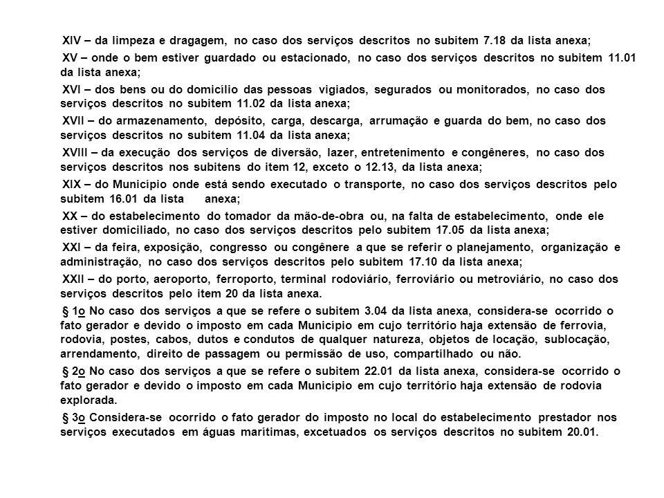 XIV – da limpeza e dragagem, no caso dos serviços descritos no subitem 7.18 da lista anexa; XV – onde o bem estiver guardado ou estacionado, no caso d