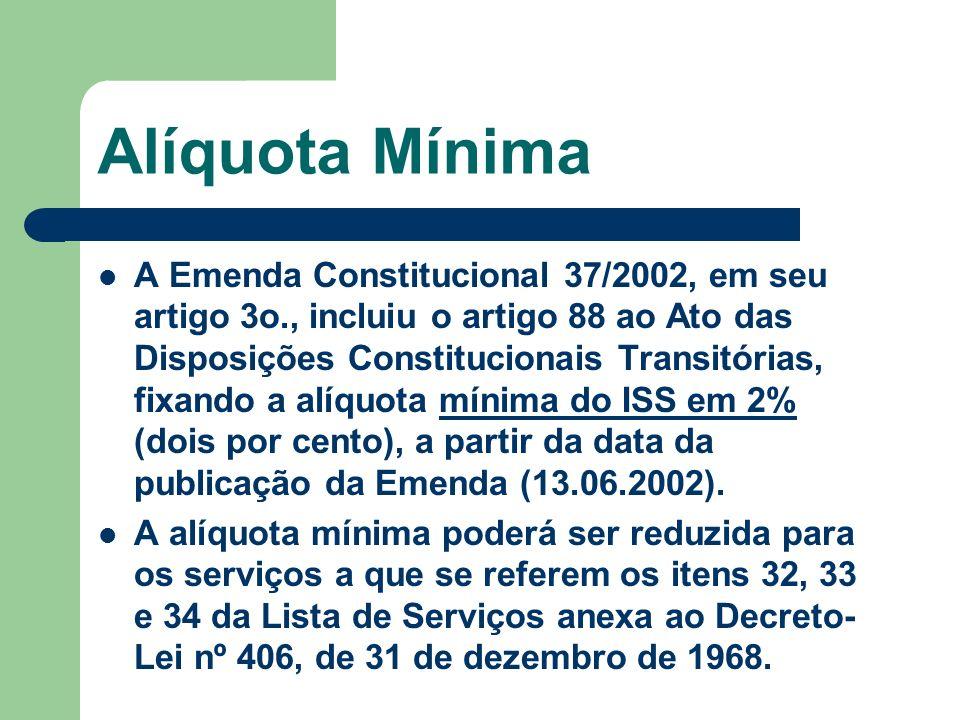 Alíquota Mínima A Emenda Constitucional 37/2002, em seu artigo 3o., incluiu o artigo 88 ao Ato das Disposições Constitucionais Transitórias, fixando a