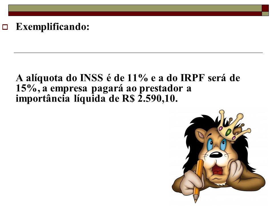 Exemplificando: A alíquota do INSS é de 11% e a do IRPF será de 15%, a empresa pagará ao prestador a importância líquida de R$ 2.590,10.