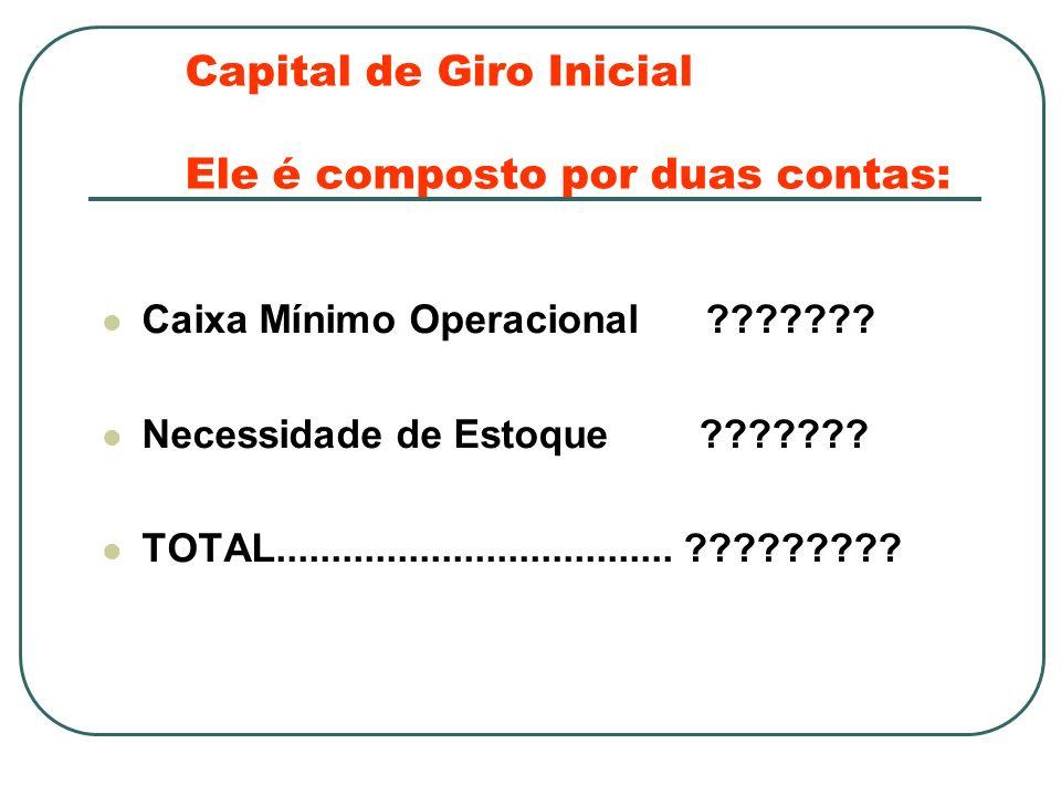 Capital de Giro Inicial Ele é composto por duas contas: Caixa Mínimo Operacional .