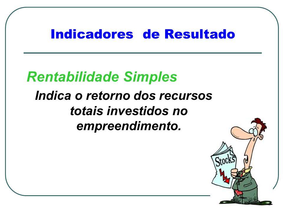 Rentabilidade Simples Indica o retorno dos recursos totais investidos no empreendimento.