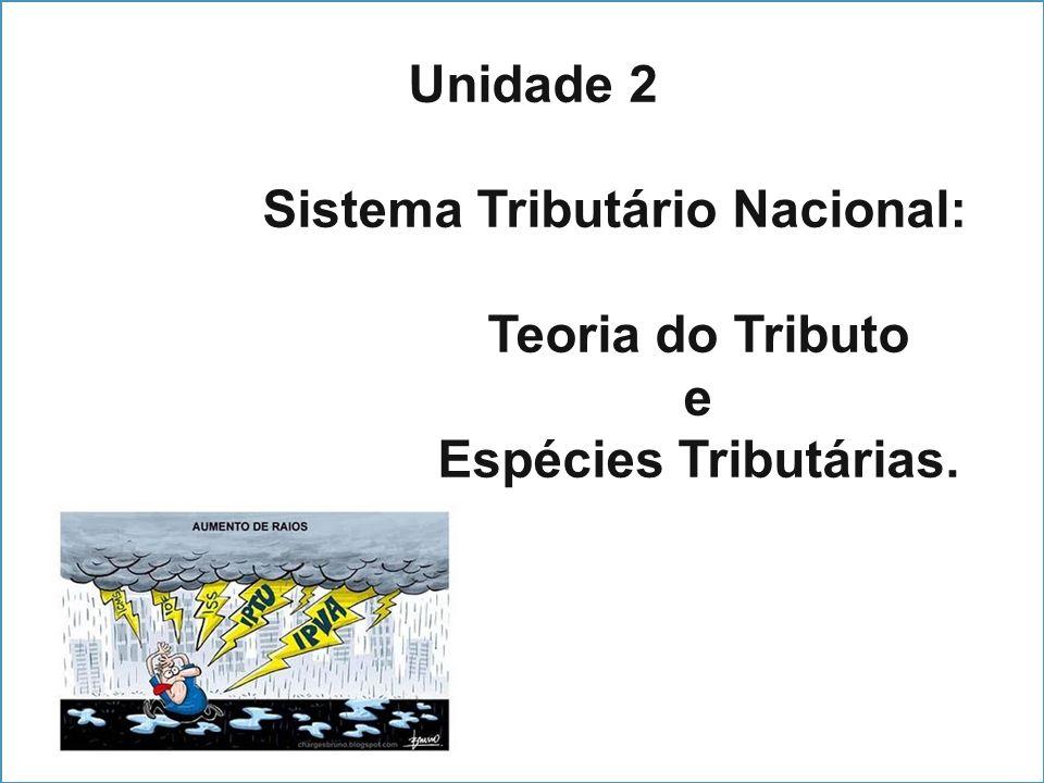 Unidade 2 Sistema Tributário Nacional: Teoria do Tributo e Espécies Tributárias.