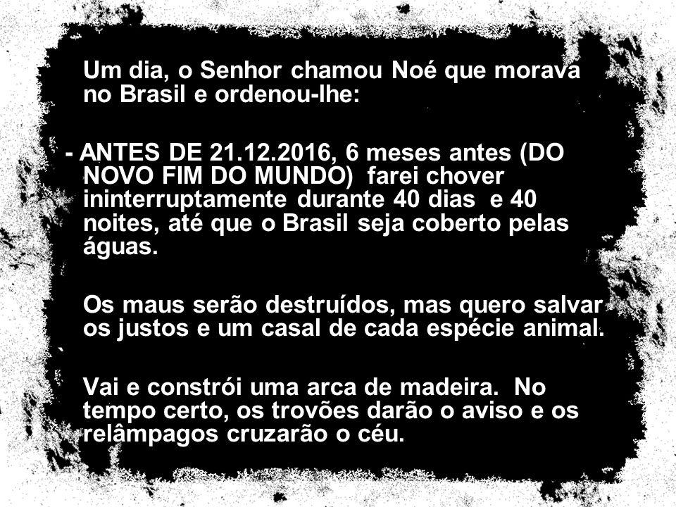 Um dia, o Senhor chamou Noé que morava no Brasil e ordenou-lhe: - ANTES DE 21.12.2016, 6 meses antes (DO NOVO FIM DO MUNDO) farei chover ininterruptam
