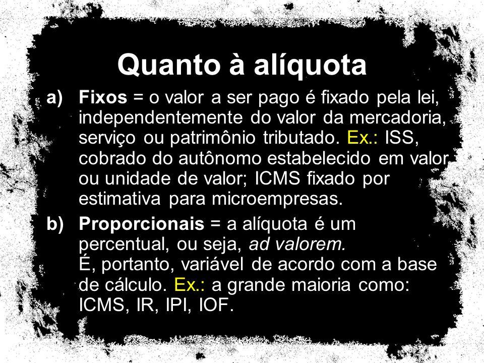 Quanto à alíquota a)Fixos = o valor a ser pago é fixado pela lei, independentemente do valor da mercadoria, serviço ou patrimônio tributado. Ex.: ISS,