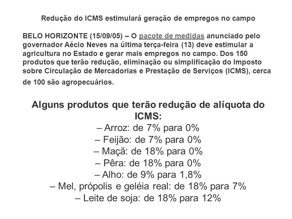 Redução do ICMS estimulará geração de empregos no campo BELO HORIZONTE (15/09/05) – O pacote de medidas anunciado pelo governador Aécio Neves na últim
