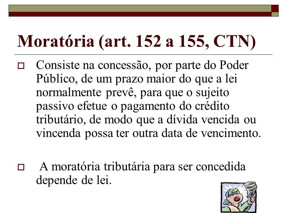 Suspendem o crédito: Art. 151. Suspendem a exigibilidade do crédito tributário: I - moratória; II - o depósito do seu montante integral; III - as recl