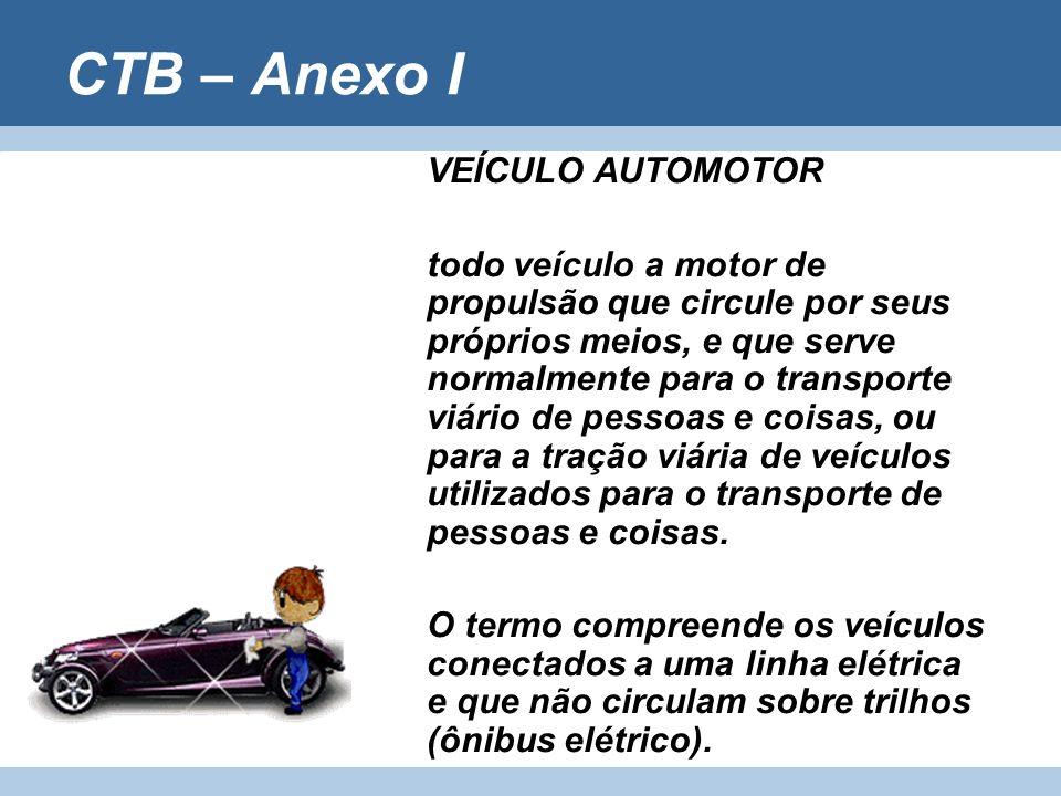 CTB – Anexo I VEÍCULO AUTOMOTOR todo veículo a motor de propulsão que circule por seus próprios meios, e que serve normalmente para o transporte viári