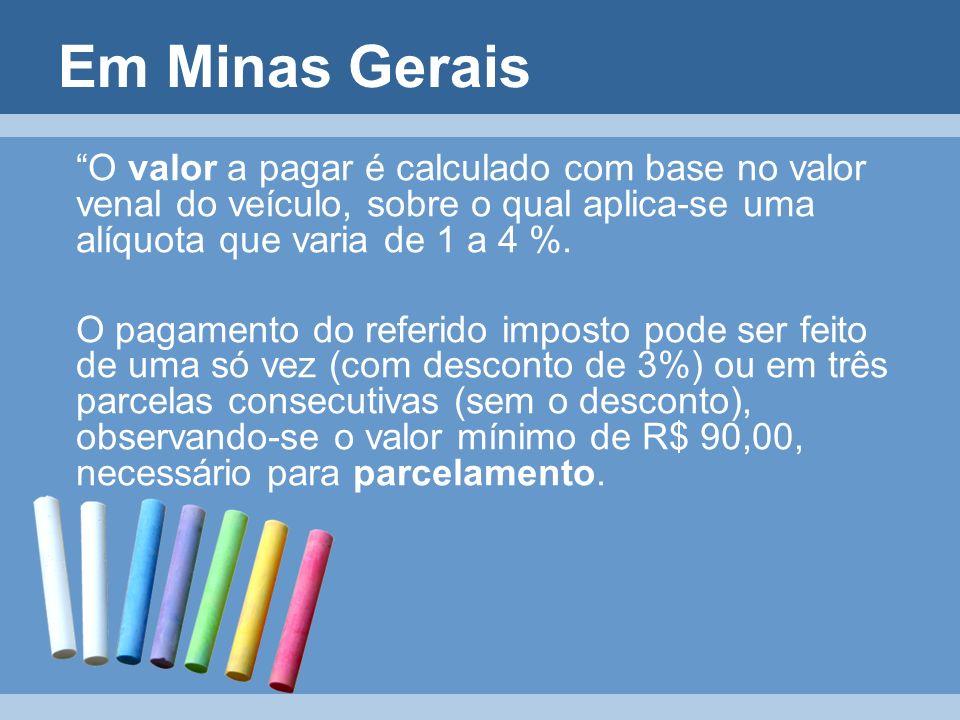 Em Minas Gerais O valor a pagar é calculado com base no valor venal do veículo, sobre o qual aplica-se uma alíquota que varia de 1 a 4 %. O pagamento