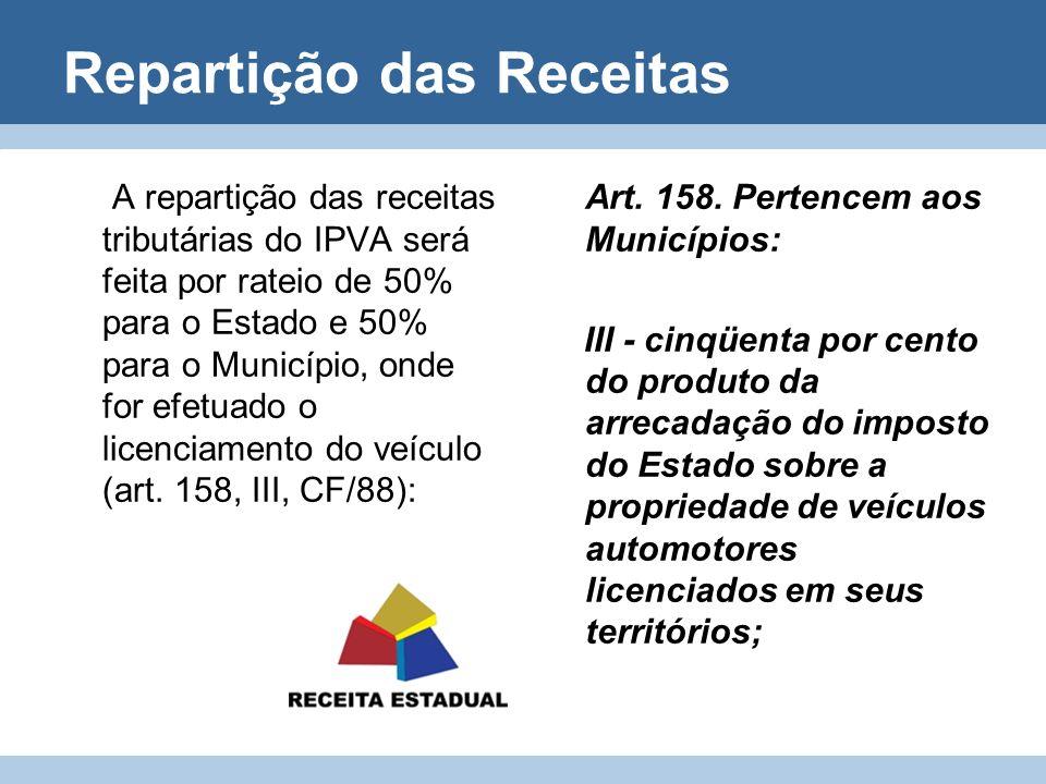 Repartição das Receitas A repartição das receitas tributárias do IPVA será feita por rateio de 50% para o Estado e 50% para o Município, onde for efet