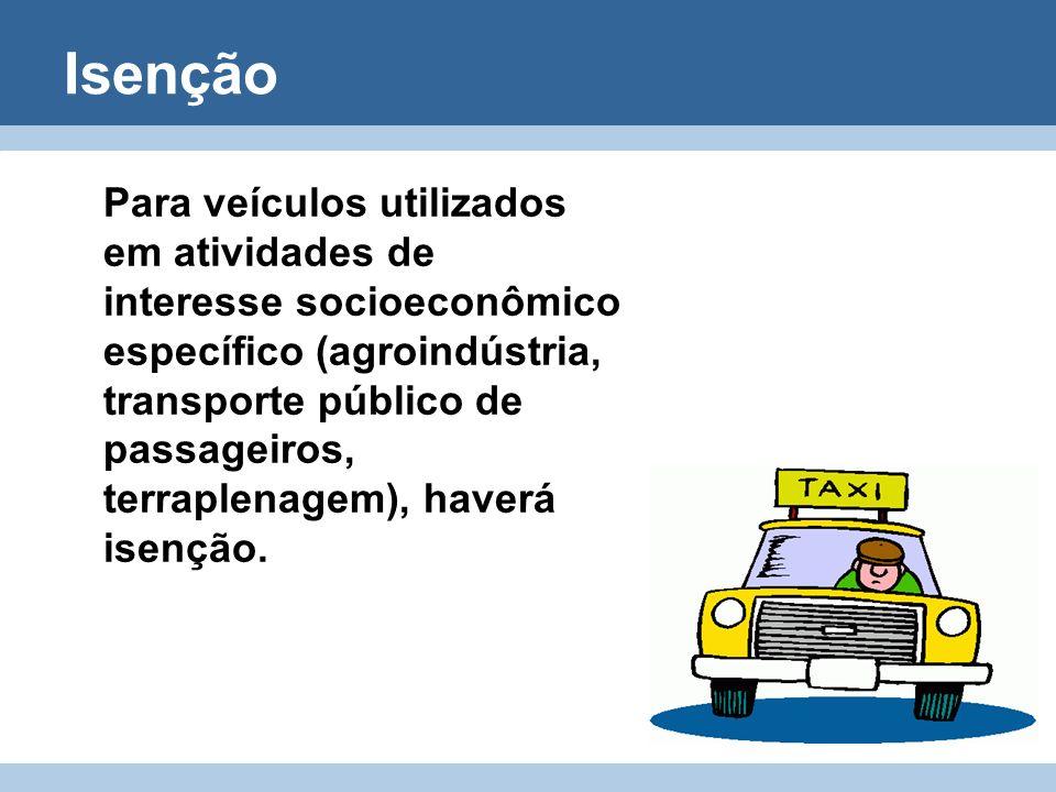 Isenção Para veículos utilizados em atividades de interesse socioeconômico específico (agroindústria, transporte público de passageiros, terraplenagem