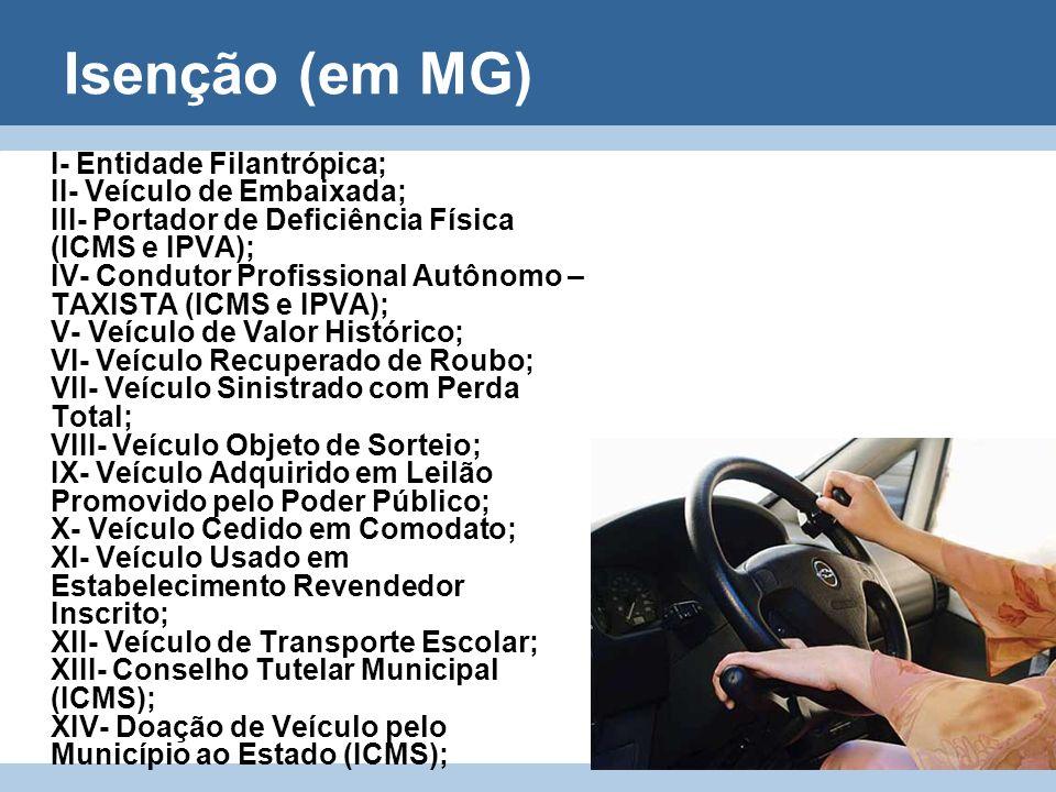 Isenção (em MG) I- Entidade Filantrópica; II- Veículo de Embaixada; III- Portador de Deficiência Física (ICMS e IPVA); IV- Condutor Profissional Autôn