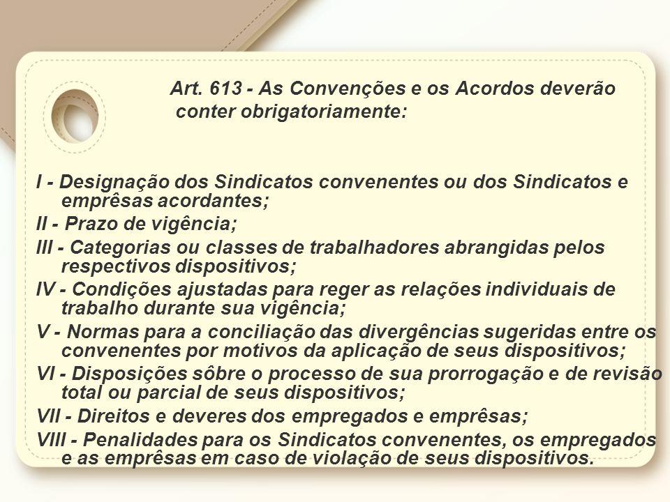 Art. 613 - As Convenções e os Acordos deverão conter obrigatoriamente: I - Designação dos Sindicatos convenentes ou dos Sindicatos e emprêsas acordant