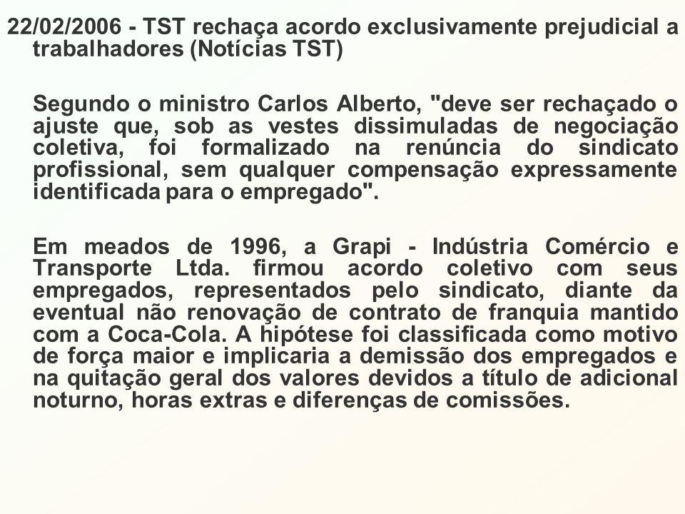 22/02/2006 - TST rechaça acordo exclusivamente prejudicial a trabalhadores (Notícias TST) Segundo o ministro Carlos Alberto, deve ser rechaçado o ajuste que, sob as vestes dissimuladas de negociação coletiva, foi formalizado na renúncia do sindicato profissional, sem qualquer compensação expressamente identificada para o empregado .