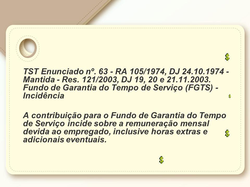TST Enunciado nº.63 - RA 105/1974, DJ 24.10.1974 - Mantida - Res.