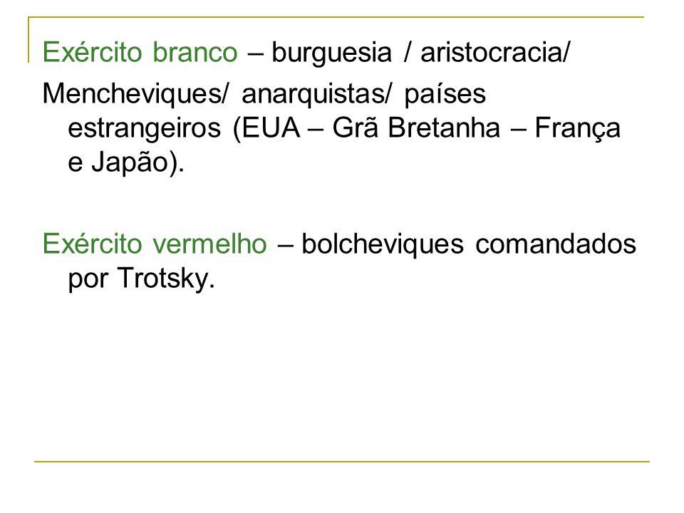 Exército branco – burguesia / aristocracia/ Mencheviques/ anarquistas/ países estrangeiros (EUA – Grã Bretanha – França e Japão). Exército vermelho –