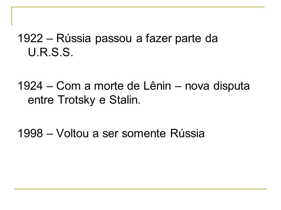 1922 – Rússia passou a fazer parte da U.R.S.S. 1924 – Com a morte de Lênin – nova disputa entre Trotsky e Stalin. 1998 – Voltou a ser somente Rússia