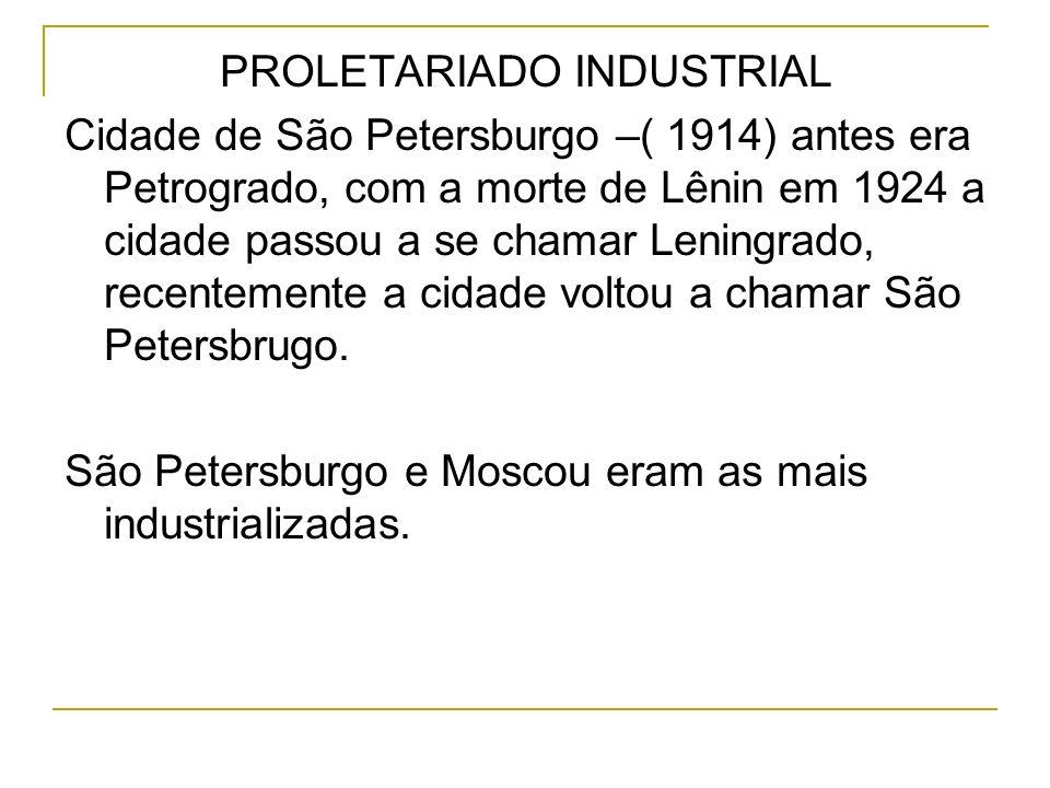 PROLETARIADO INDUSTRIAL Cidade de São Petersburgo –( 1914) antes era Petrogrado, com a morte de Lênin em 1924 a cidade passou a se chamar Leningrado,