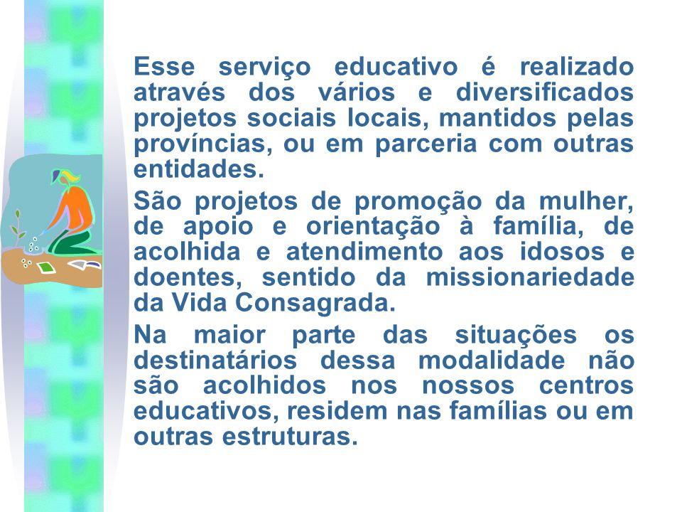 Esse serviço educativo é realizado através dos vários e diversificados projetos sociais locais, mantidos pelas províncias, ou em parceria com outras entidades.
