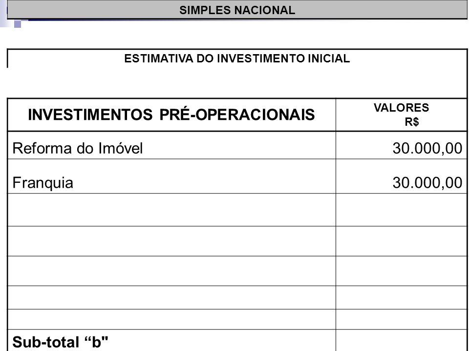 SIMPLES NACIONAL ESTIMATIVA DO INVESTIMENTO INICIAL INVESTIMENTOS PRÉ-OPERACIONAIS VALORES R$ Reforma do Imóvel30.000,00 Sub-total b