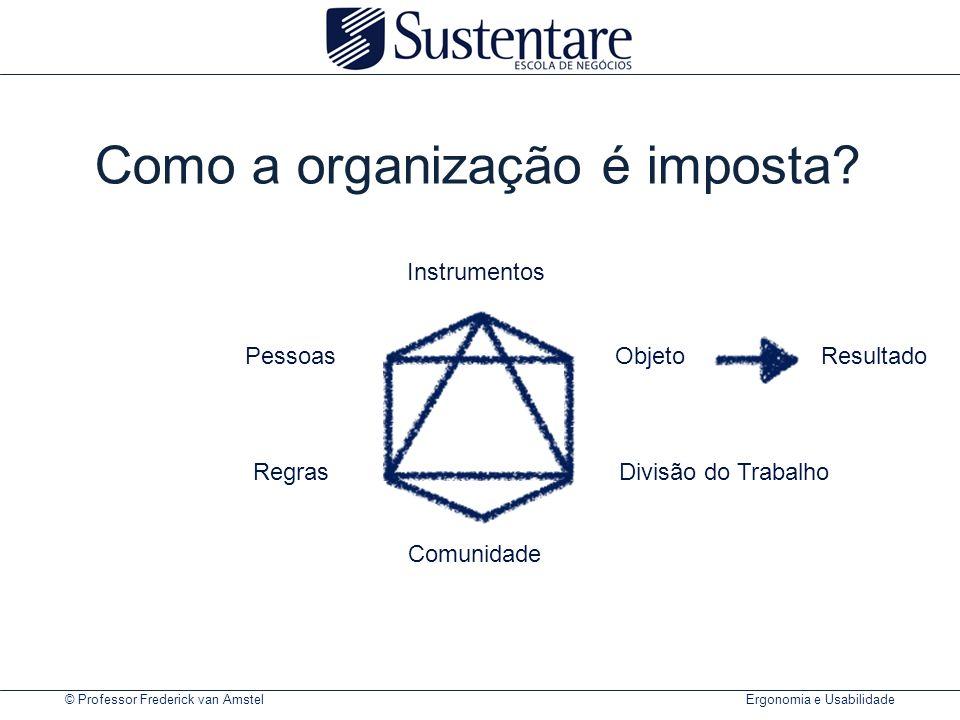 © Professor Frederick van Amstel Ergonomia e Usabilidade Como a organização é imposta? PessoasObjetoResultado Instrumentos Comunidade RegrasDivisão do