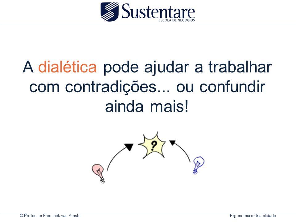 © Professor Frederick van Amstel Ergonomia e Usabilidade A dialética pode ajudar a trabalhar com contradições...