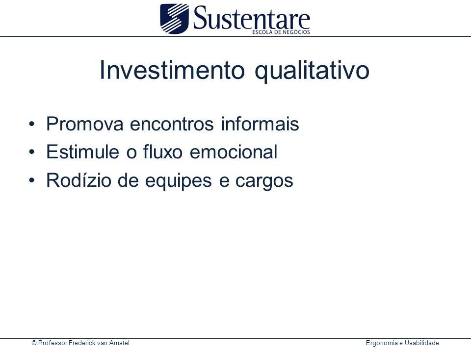 © Professor Frederick van Amstel Ergonomia e Usabilidade Investimento qualitativo Promova encontros informais Estimule o fluxo emocional Rodízio de eq