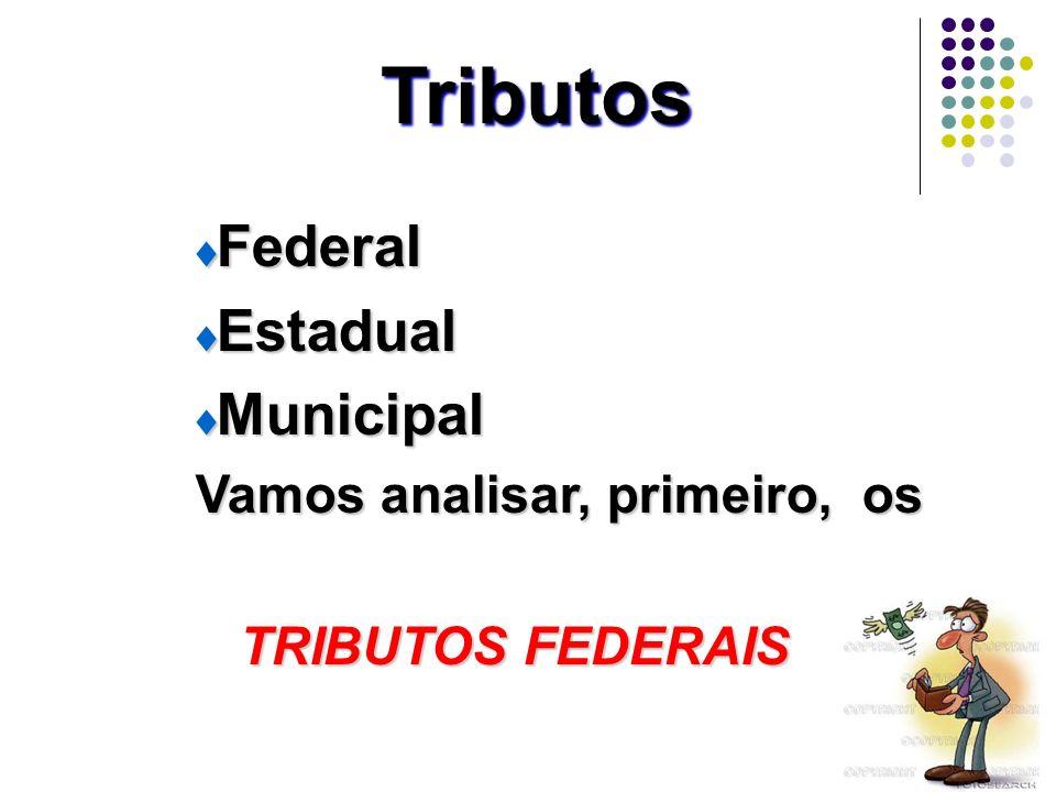 22 Tributos Federal Federal Estadual Estadual Municipal Municipal Vamos analisar, primeiro, os Vamos analisar, primeiro, os TRIBUTOS FEDERAIS TRIBUTOS