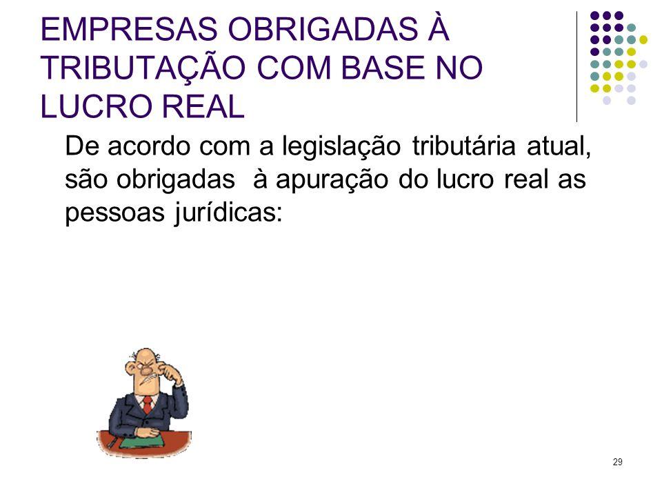 29 EMPRESAS OBRIGADAS À TRIBUTAÇÃO COM BASE NO LUCRO REAL De acordo com a legislação tributária atual, são obrigadas à apuração do lucro real as pesso