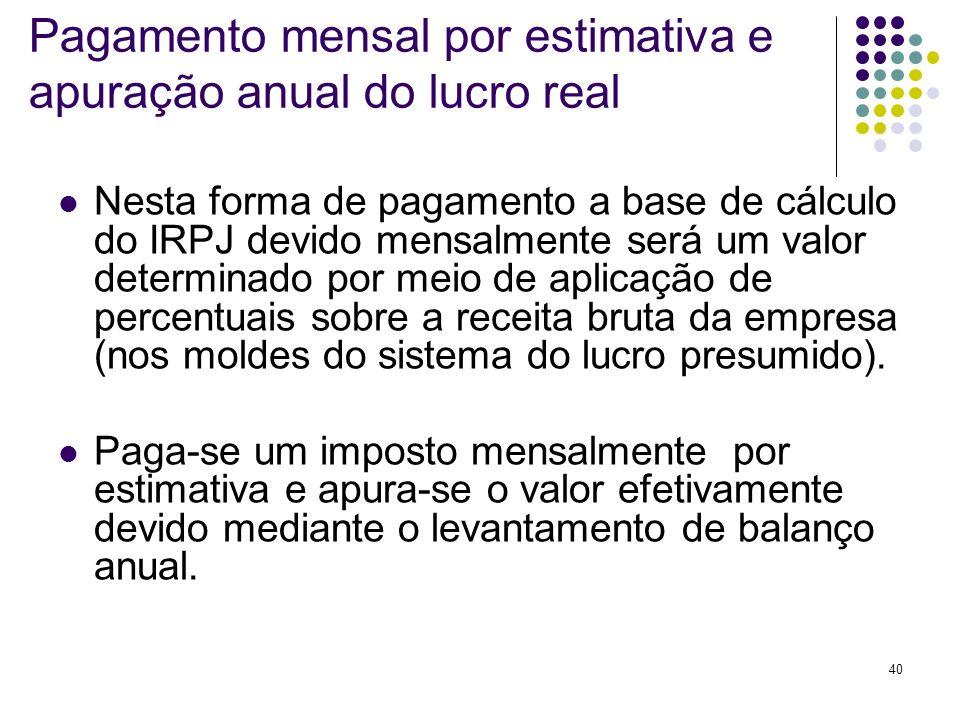 40 Pagamento mensal por estimativa e apuração anual do lucro real Nesta forma de pagamento a base de cálculo do IRPJ devido mensalmente será um valor