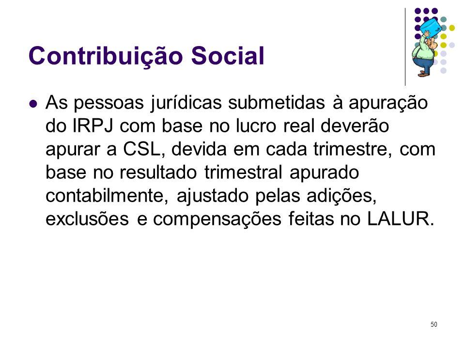 50 Contribuição Social As pessoas jurídicas submetidas à apuração do IRPJ com base no lucro real deverão apurar a CSL, devida em cada trimestre, com b