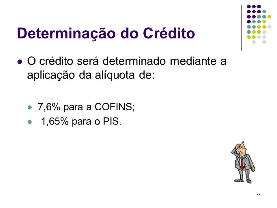 55 Determinação do Crédito O crédito será determinado mediante a aplicação da alíquota de: 7,6% para a COFINS; 1,65% para o PIS.