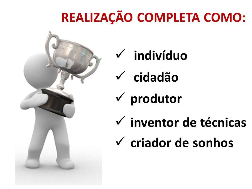 REALIZAÇÃO COMPLETA COMO: indivíduo cidadão produtor inventor de técnicas criador de sonhos