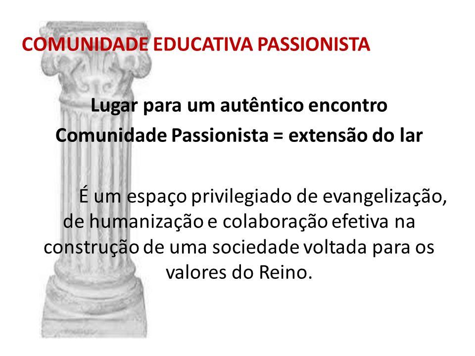 COMUNIDADE EDUCATIVA PASSIONISTA Lugar para um autêntico encontro Comunidade Passionista = extensão do lar É um espaço privilegiado de evangelização,