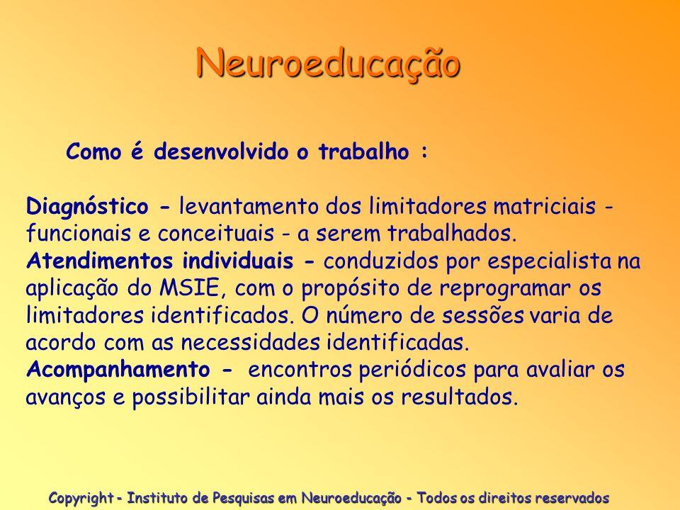 Neuroeducação Princípio técnico Colapsamento dirigido das estruturas lógicas a serem otimizadas, utilizando a imaginação como veículo de trabalho. Tem