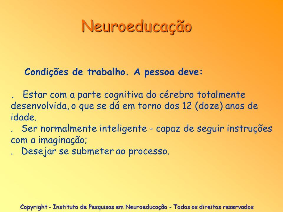 Copyright - Instituto de Pesquisas em Neuroeducação - Todos os direitos reservados Neuroeducação Como é desenvolvido o trabalho : Diagnóstico - levant