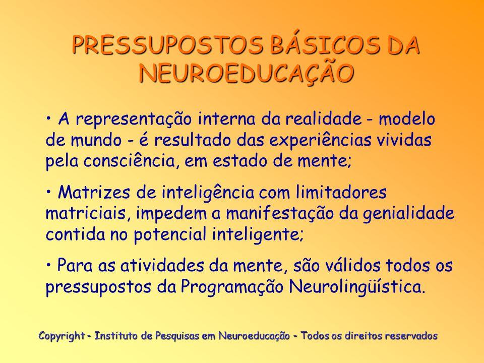 PRESSUPOSTOS BÁSICOS DA NEUROEDUCAÇÃO As matrizes de inteligência são compostas por programas e meta-programas operacionais, organizados em estruturas