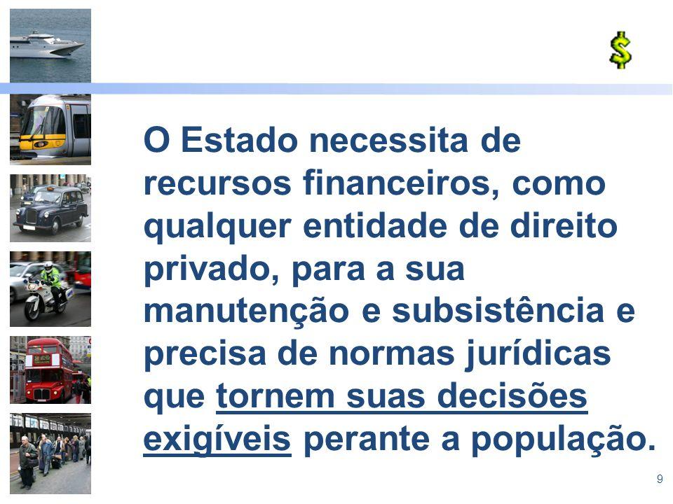 9 O Estado necessita de recursos financeiros, como qualquer entidade de direito privado, para a sua manutenção e subsistência e precisa de normas jurí
