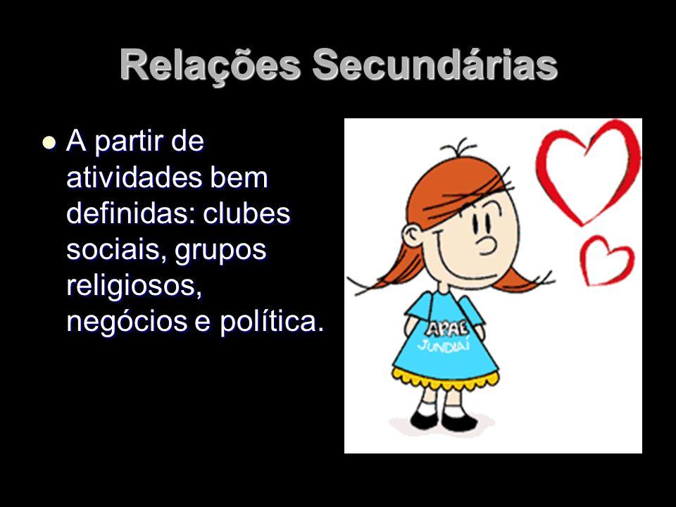 Relações Secundárias A partir de atividades bem definidas: clubes sociais, grupos religiosos, negócios e política. A partir de atividades bem definida