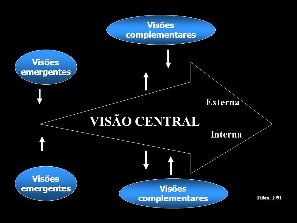 Visões complementares Visões complementares Visões emergentes Visões emergentes VISÃO CENTRAL Externa Interna Filion, 1991