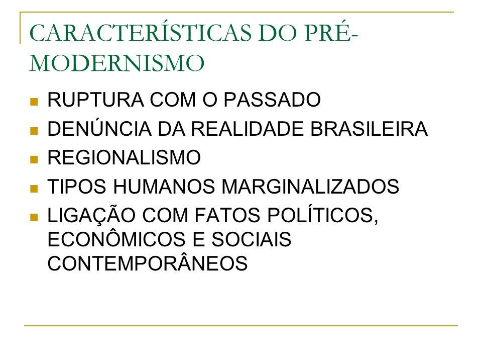 CARACTERÍSTICAS DO PRÉ- MODERNISMO RUPTURA COM O PASSADO DENÚNCIA DA REALIDADE BRASILEIRA REGIONALISMO TIPOS HUMANOS MARGINALIZADOS LIGAÇÃO COM FATOS